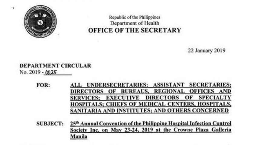 DOH Department Circular 2019-0025